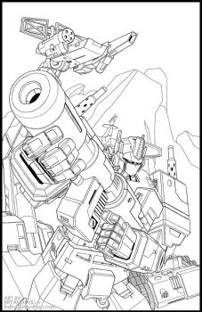 Optimus Prime Lineart by Bogata