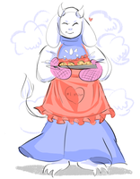 Toriel with an apron by Artizluv