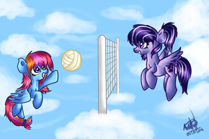 Playing skyball AT by Amy-defy