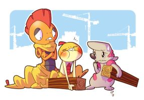 Scraggy vs Timburr by jiggly