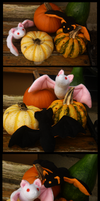 Halloween GIVE-AWAY!: Albino and black bat by goiku