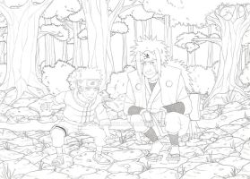 Jiraya and Naruto - lineart by Melllorine