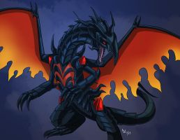 Comm - Red Eyes Black Inferno Dragon by LynxGriffin
