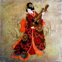geisha with biwa by sevenpineapples