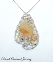Yellow Agate Pendant by blackcurrantjewelry