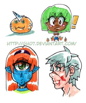 Manga Characters Copic Practice by gh07