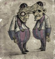 Tweedle Dee and Tweedle Dum by ex-oblivione