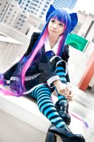 Rooftop shoot with Stocking by LeNekoPotato