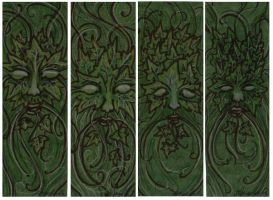 Green Man Bookmarks by AnnEnchanted