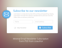 Minimal Email Newsletter Subscription Form PSD by cssauthor