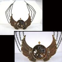 Wings without Time - Steampunk Victorian Necklace by Joshuadsanchez