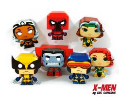 X-Men mini paper toys by Gus-Santome