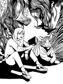 Girl and Tiger by Walyco