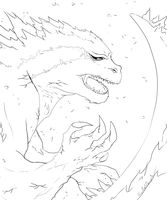 Sketch_Gojira by SoulOfPersephone