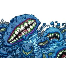 Madness of the Blue Monsters by falconire