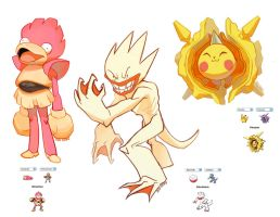 +Pokemon Fusion+ Pikaster, Electrduck, Slowchan by dou-hong