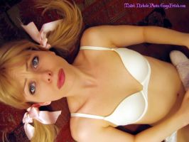 Pigtails and White A-Cup Bra by gogafetish