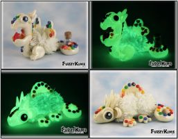 Polymer Clay Dragon Scuptures - Glow in the Dark by KIMMIESCLAYKREATIONS