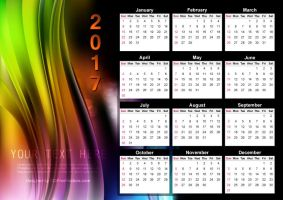 Abstract Colorful Calendar 2017 Vector by 123freevectors