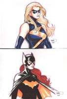 Ms Marvel and Batgirl by PaulRenaud