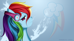 Rainbow Dash with headphones (splash) by AvareQ