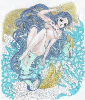 beach maiden and her dolphin by kristalwaterfairy