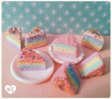 Pastel Rainbow Mini Cake Slices by kicat