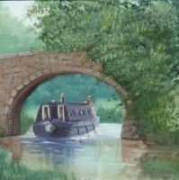 Canal Bridge Oil Painting by meeart