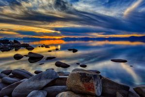 East Shore Tahoe on a Colorful December Evening by sellsworth