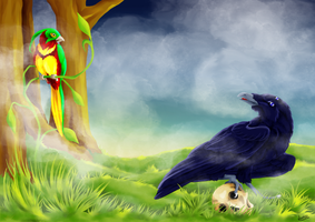 Bird of life and crow of death / Vie et mort by LaetitB-Design