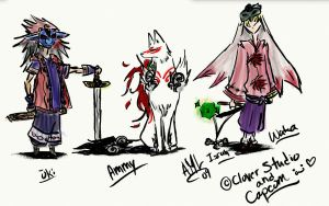 Okami Characters by tricksterwolf13