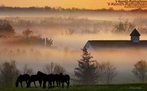 Gentle Mists Upon The Farm by V-Kenith-Rathathian