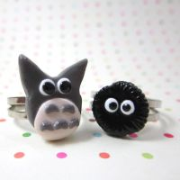 Totoro and Soot Sprite rings by TrenoNights