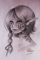 elf with strange tattoos by Nasuki100