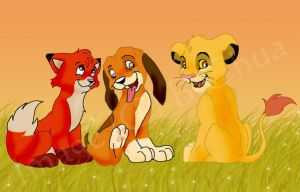 Tod and Copper meet Simba by sirius-blackx2