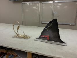 Shark fin tracker and Hook displays by signcrafter
