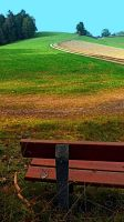 Bench with autumn scenery by patrickjobst