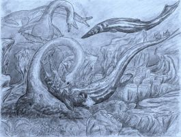 Elasmosaurus Vs Tylosaurus darker blue original by NashD1