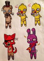 Five Nights At Freddy's Chibis! by MurderousMoon