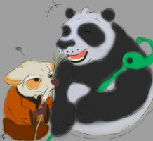 Daily Drawing Day 440 Po and Shifu  by MidnightHuntingWolf