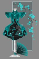 Black and Aqua Blossoms by rockgem
