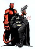 Batman and Hellboy by LittleOrphanAwesome