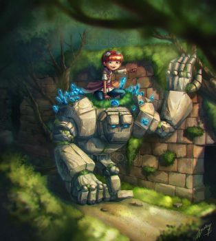 a boy and his golem by Anako-ART