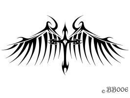 Winged Cross Tattoo Digital by blackbutterfly006