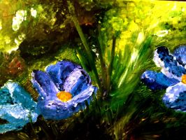 Purple and blue flowers by Pralline