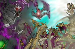 League art contest entry (Nasus vs Azir) by TimeLordJikan