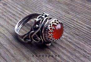 Ring silver sterling cornelian by honeypunk