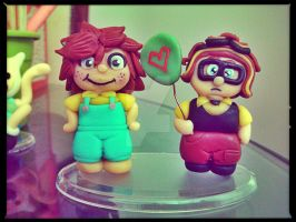 Carl and Ellie - Up Movie - Fimo Clay by artesladybug