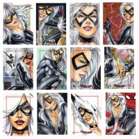 Black Cat sketch cards by Dangerous-Beauty778