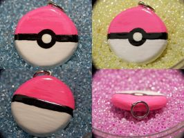 Hot Pink Pokeball Necklace by Shelby-JoJewelry